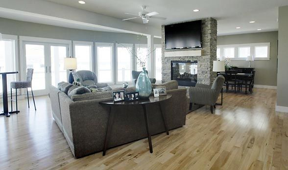 Gray Furniture And Light Wood Floors Home Home Living Room