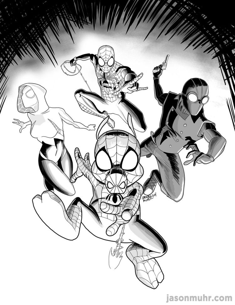 Spiderverse SpiderHam, SpiderGwen, Ben Reilly, and