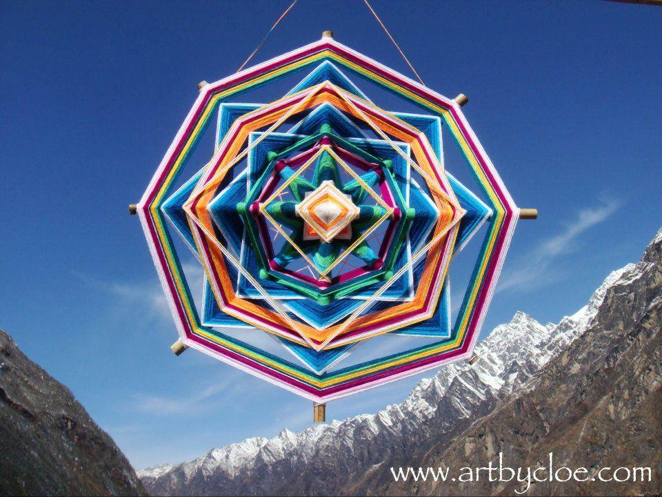 Wool thread mandala ~ Huichol Art By Cloë, Nepal