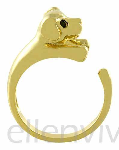 Ellenviva Enhanced Capybara Adjustable Animal Wrap Ring Vintage Gold Tone