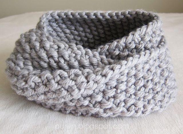December Seed Stitch Infinity Circle Scarf Free Knitting Pattern