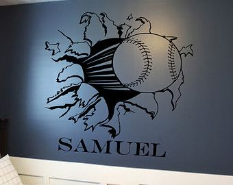 Custom Baseball Or Softball Bursting Through Wall Decal Custom - Custom vinyl baseball decals