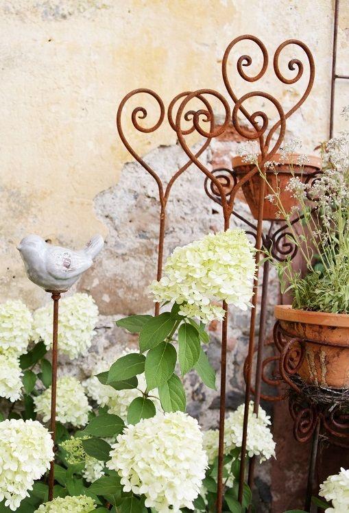 rosenstab herz edelrost gartenstecker rankhilfe shabby landhaus cottage vintage rost