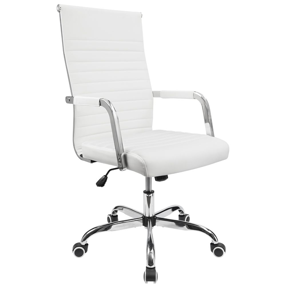 Walnew Mid Back Ribbed Office Chair With Pu Leather White Walmart Com In 2020 Office Chair Chair Chair Fabric