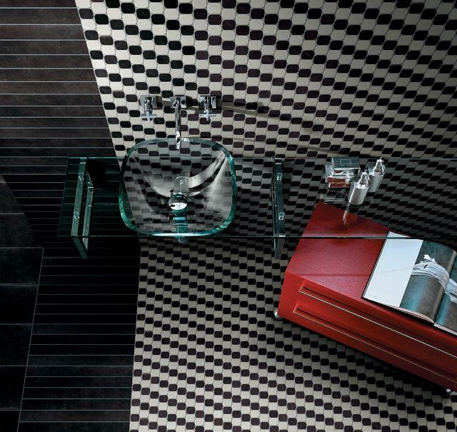 Mosaik Fliesen Bad Schwarz Weiss Glas Waschtisch Waschbecken Colorlab