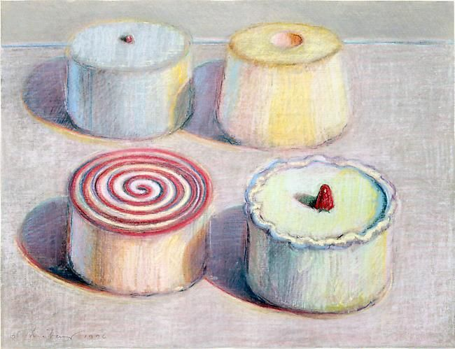 Cake Art Exhibit : Wayne Thiebaud, Four Cakes, Pastel on paper, 1996 ...