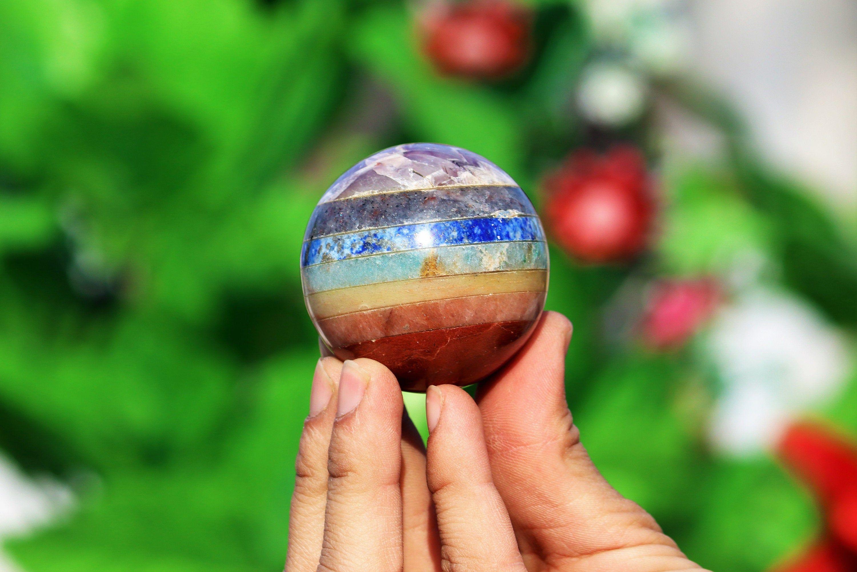 Amazing 50mm seven chakra stone healing metaphysical power