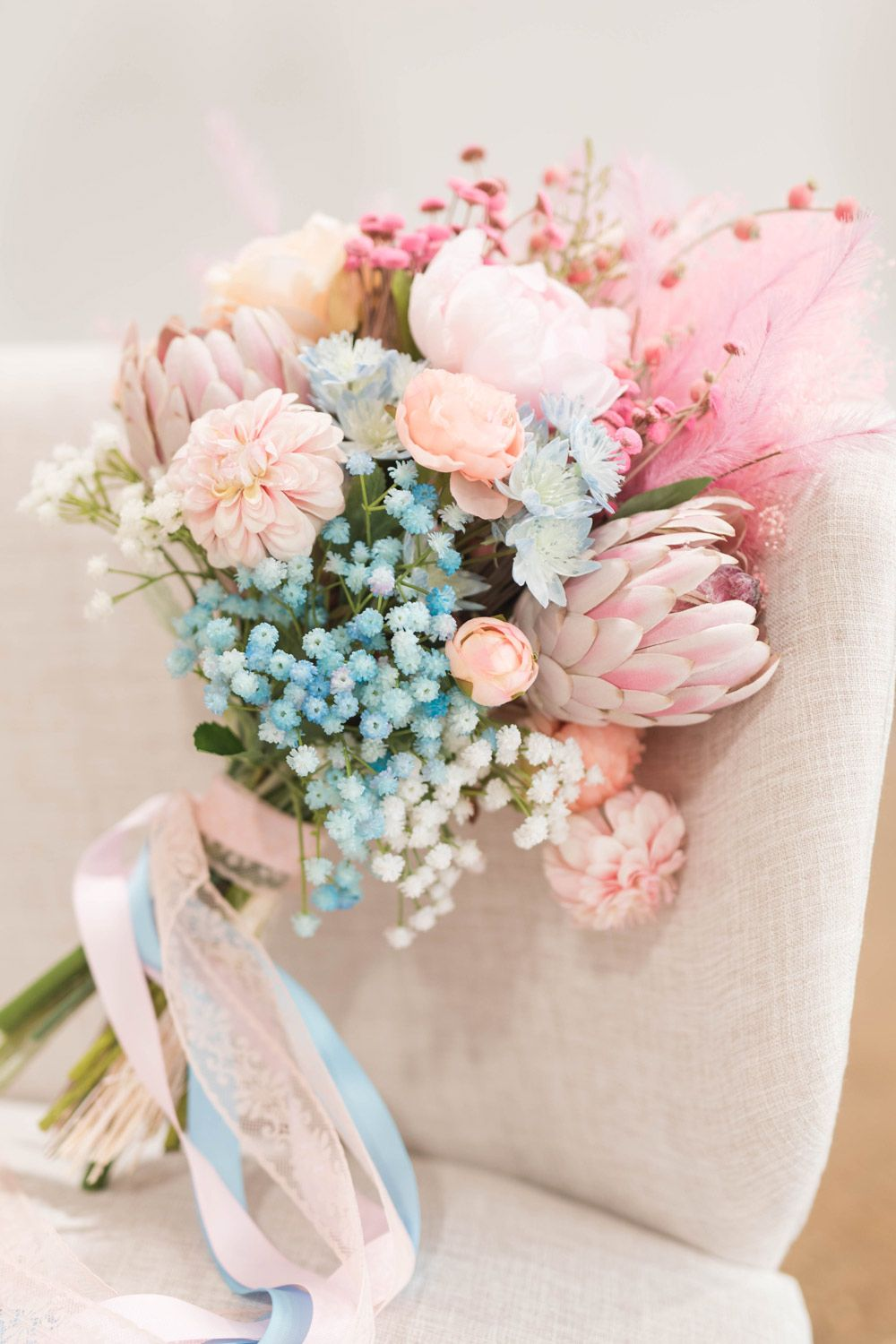 Get The Look For Your Pink And Blue Wedding With Cotton Candy Colored Flowers From Afloral Com I In 2020 Cotton Candy Wedding Silk Flowers Wedding Fake Flower Bouquet