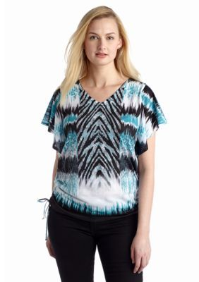 New Directions  Embellished Printed Ruched Tie Dye Top