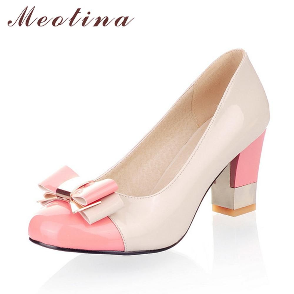 e7f5fdffa9ebd1 Ladies Shoes Pumps Autumn Round Toe Basic Office Chunky High Heels Bow  Candy Color Shoes