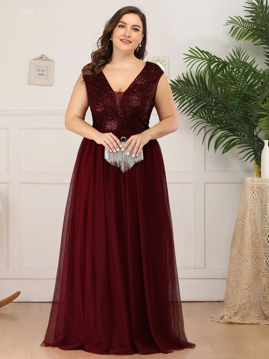 Plus Size Maxi Long Sequin Prom Dress with Cap Sleeve ...