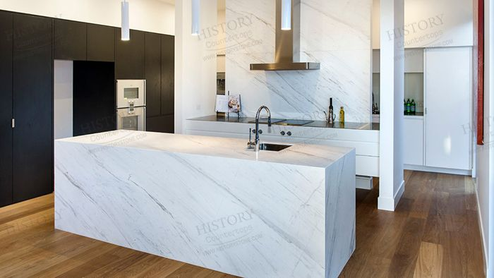 Best Volakas Marble White and Grey Kitchen Countertops ...