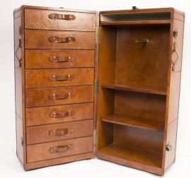 Stunning hand crafted leather steamers trunk. https://www.regentantiques.com/itemDetails/06085-English-Hand-Made-Leather-Steamers-Trunk-Case-Luggage