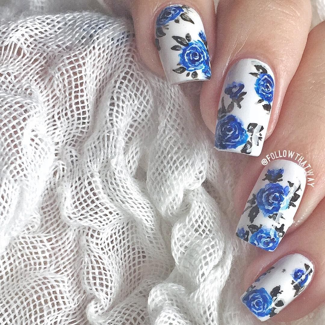 Annabel Lee On Instagram Close Up For My Previous Blue Roses Experiment Roses Were Done With Acrylic Paint And A Bru Rose Nail Art Flower Nails Rose Nails