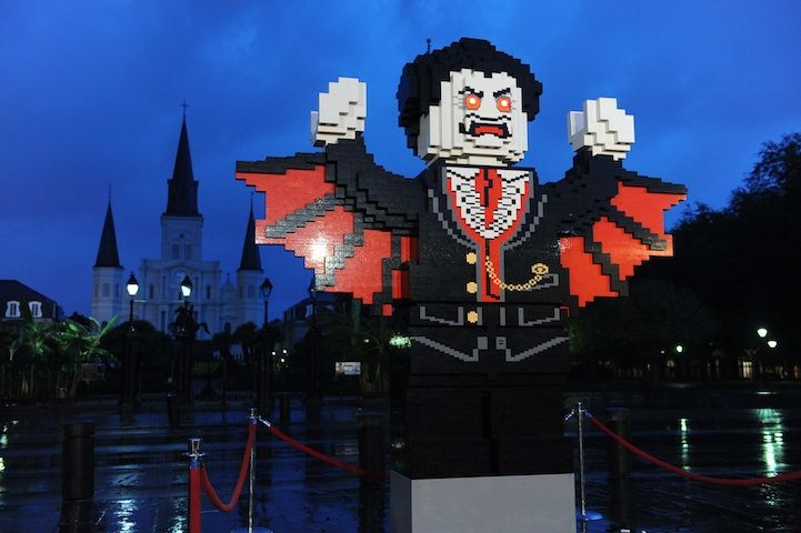 Leave it to LEGO to kick off the Halloween season with a fun and spooky statue! In their first-ever-all-night building event, LEGO got New Orleans' local residents to work together with LEGO Master Builders to create Lord Vampyre, a 10-foot tall vampire sculpture made of 150,000 bricks. Set against the backdrop of Jackson Square and St. Louis Cathedral in New Orleans, Lord Vampyre, who's based on the lead villain from the new Monster Fighters line, was built under a full moon.