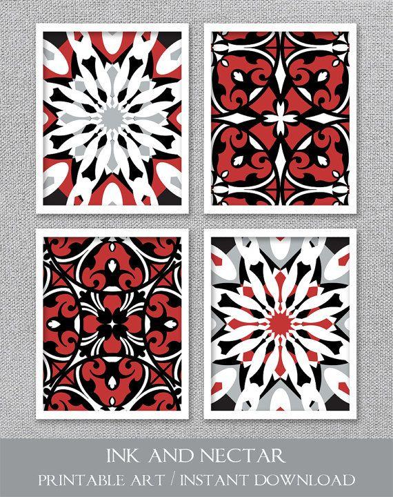 PRINTABLE Art Red Black White Printable Set Wall Dining Room