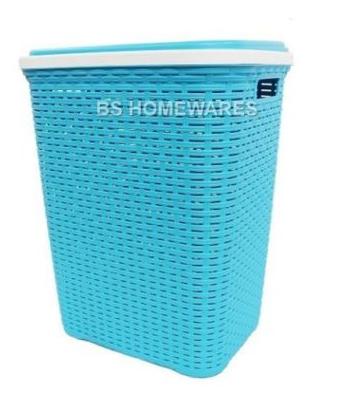 Hamper Baskets Cheap Plastic Laundry Basket With Lid Sea Blue