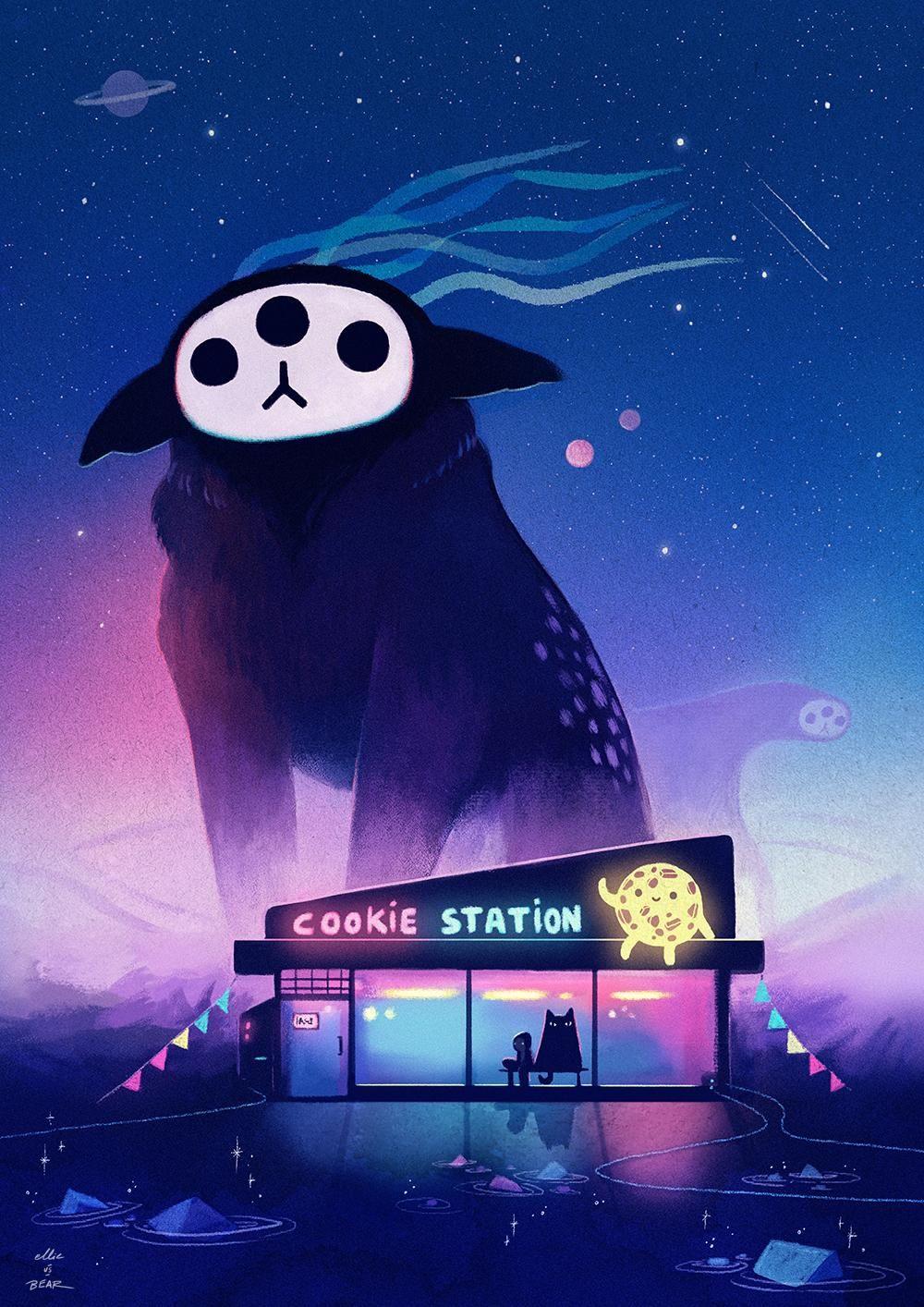 Cookie station digital 1000x1400px art visual artist