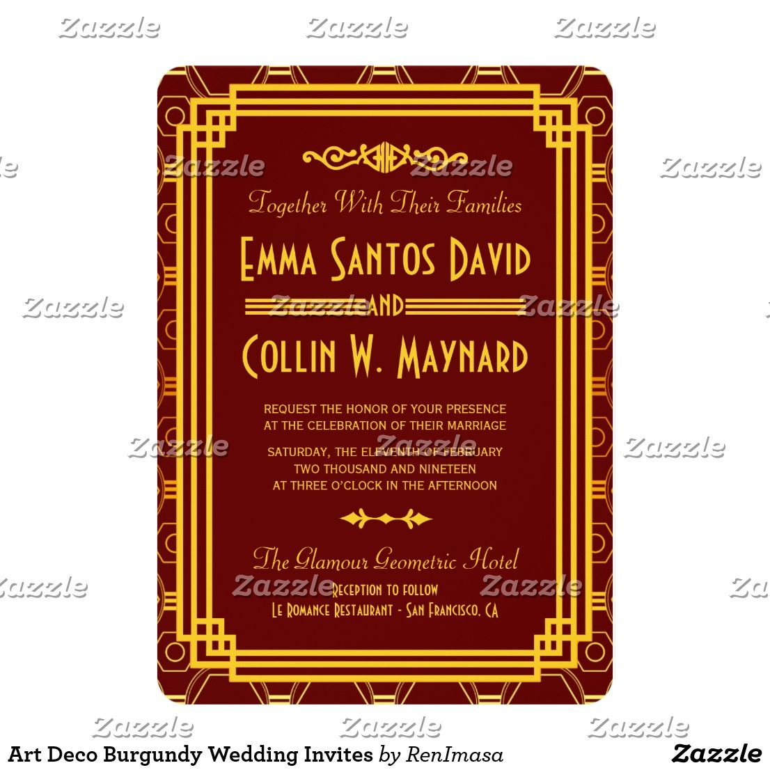 Art Deco Burgundy Wedding Invites | ART DECO WEDDING Invitations ...