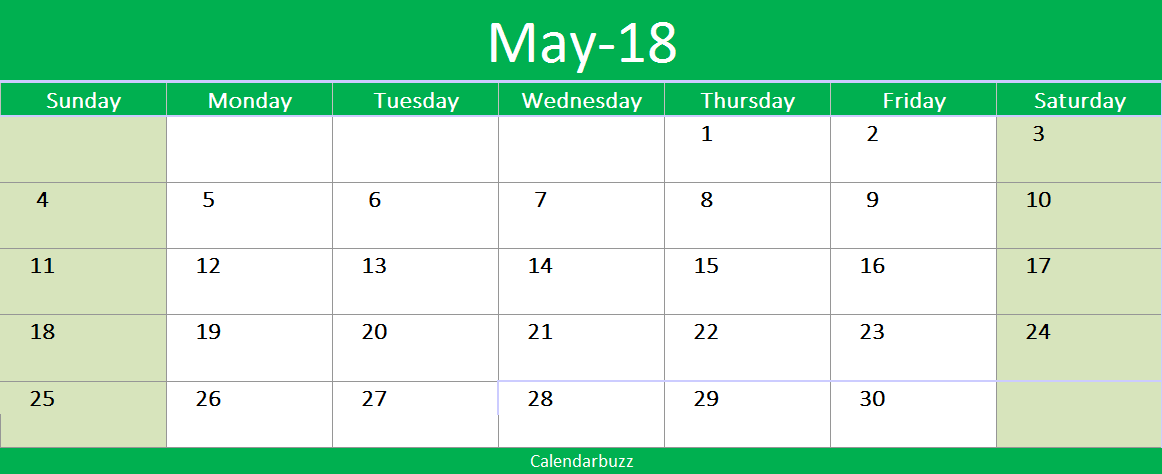 May  Printable Excel Template   Printable Calendars