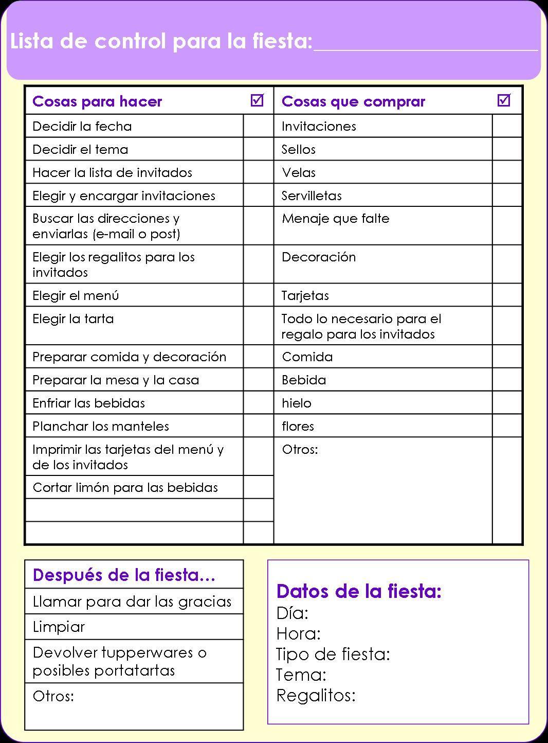 Lista para organizar fiestas  Printables  Organizar