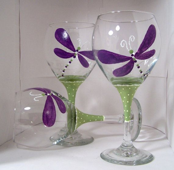 Dragonfly purple wine glass dragonfly hand painted wine for Painted wine glasses with initials
