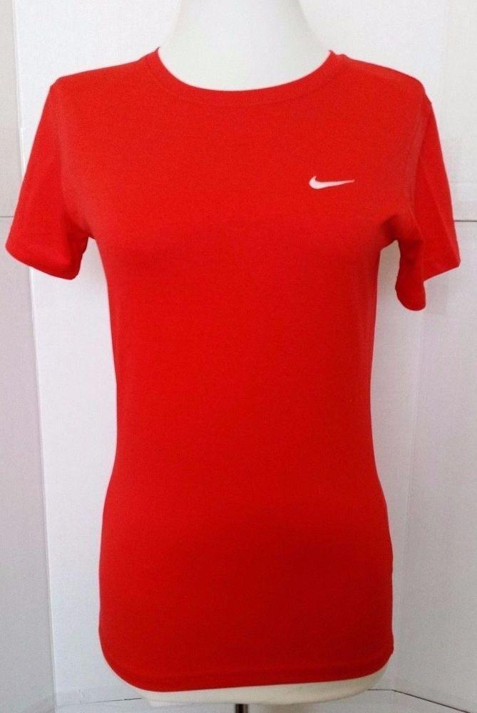 e36cb94cb Womens Nike Dri fit Red Shirt Top Short sleeve Training XS xsmall 343118  600  Nike  BasicTee