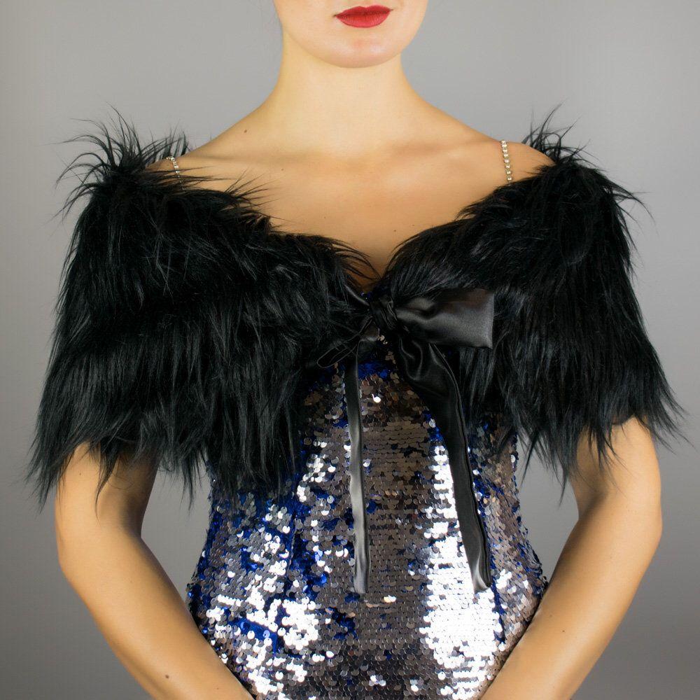 Black faux fur wrap shawl shrug bridesmaid cape bolero