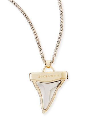 """Golden+&+Gunmetal+Doubled+Shark+Tooth+Necklace,+34""""+by+Givenchy+at+Neiman+Marcus."""