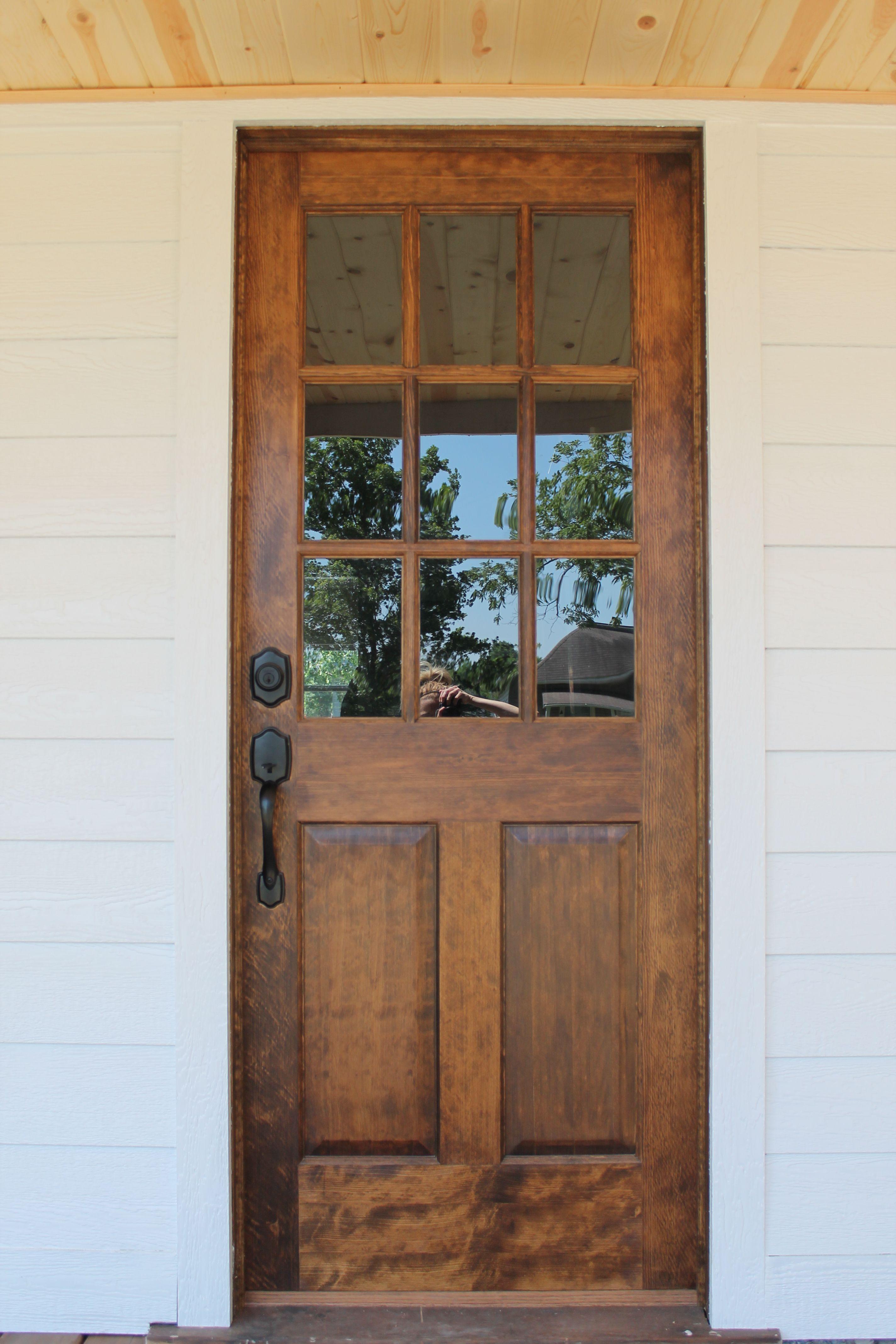 Im In Love With Our New Front Door Solid Hardwood Door With Windows White Siding Wood Beadboard Basement Remodeling Exterior Front Doors Wooden Front Doors