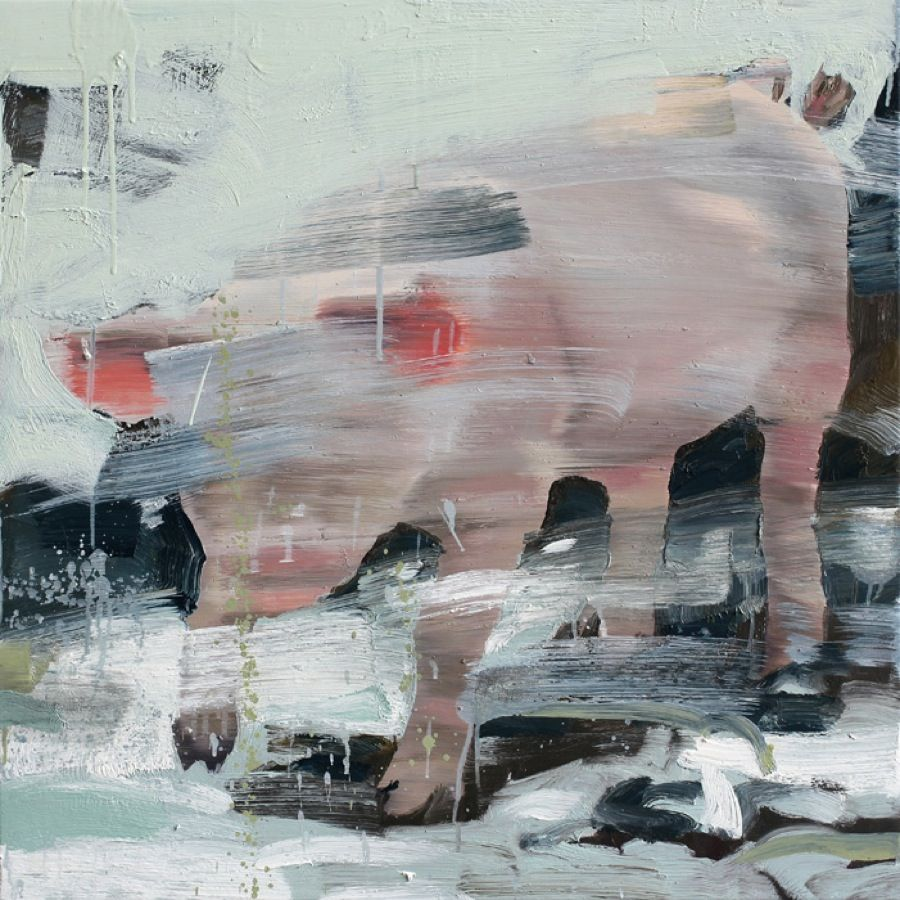 Tor Arne Moen, Gris med løftede føtter, 85 x 85 cm.