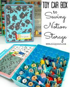repurpose a toy car box to sewing notion storage, storage ideas