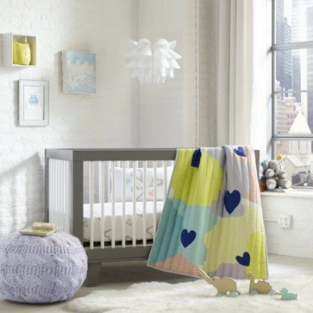 Greenbuds Abstract Affection Organic Cotton Crib/Toddler Comforter with Wool Fill, Multicolor