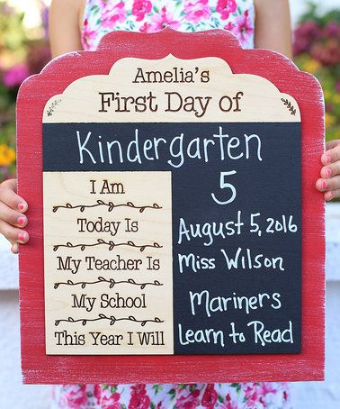 Another great find on #zulily! Pink 'First Day' Personalized Chalkboard Sign #zulilyfinds