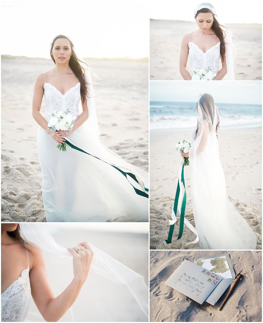 Maryland wedding at assateague island beach bridal gown and bouquet