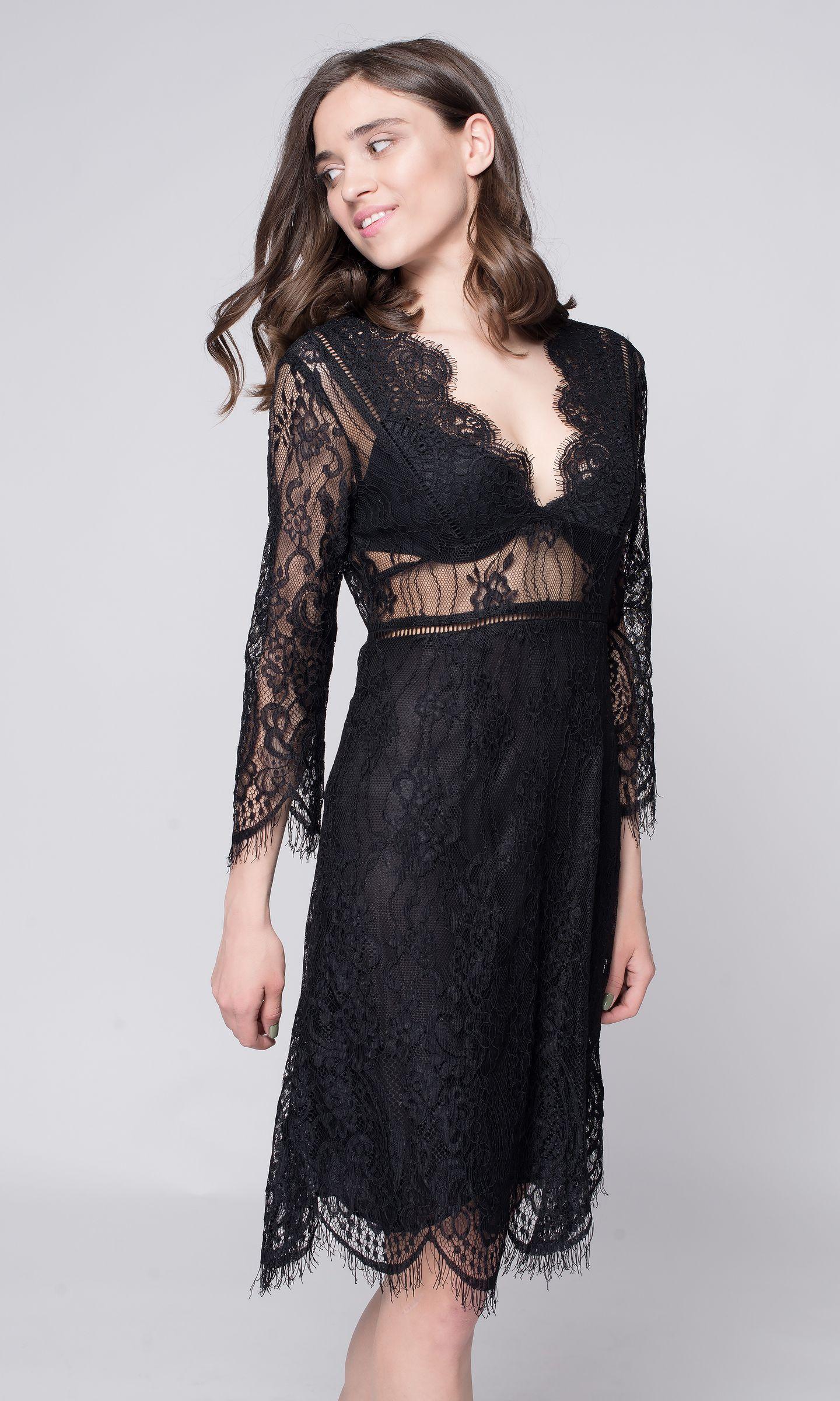 8b1f64a403e Черное кружевное платье с рукавом