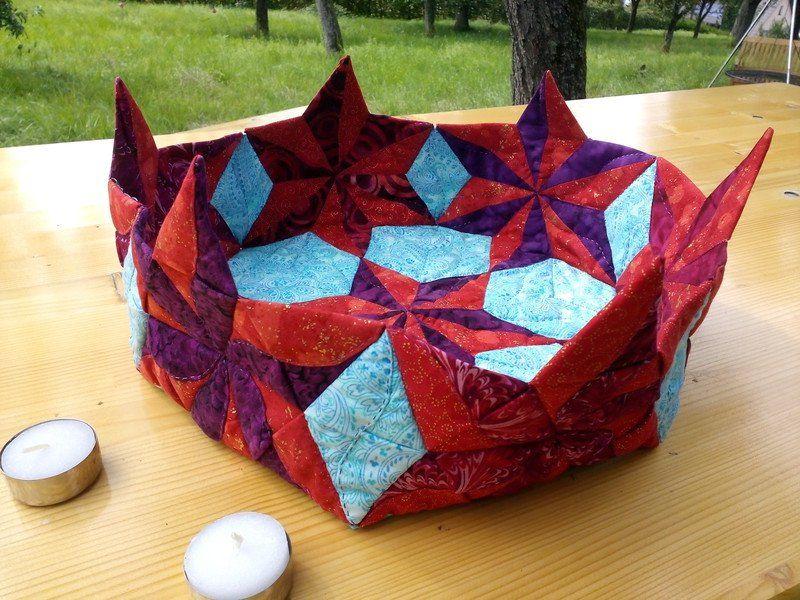Quilts & Patchwork - Sternenkorb rot-blau - ein Designerstück von…