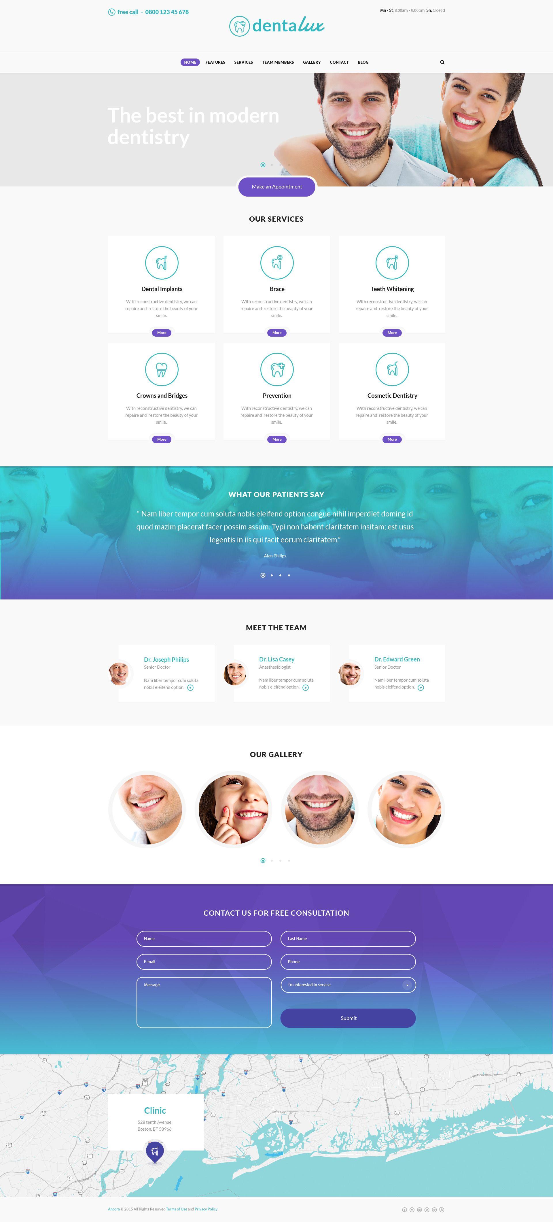 Dentalux A Dentist Medical Healthcare Doctor Wordpress Theme Dentistas Layout Marketing