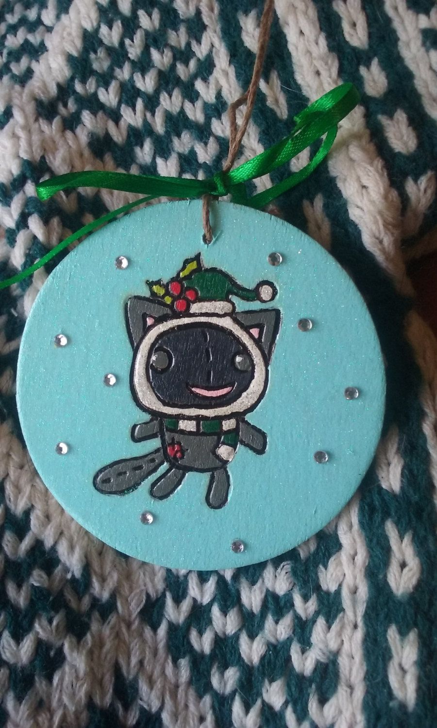 2016 Patchwork Kitty Cat Holiday Ornament by IrieSoulCreations on Etsy