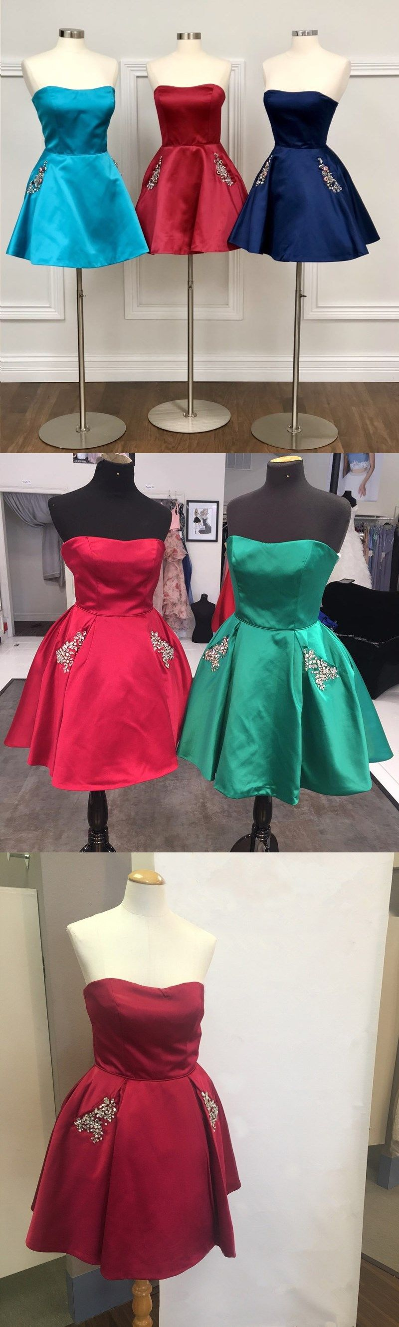 Cute homecoming dresses strapless rhinestone short prom dress with