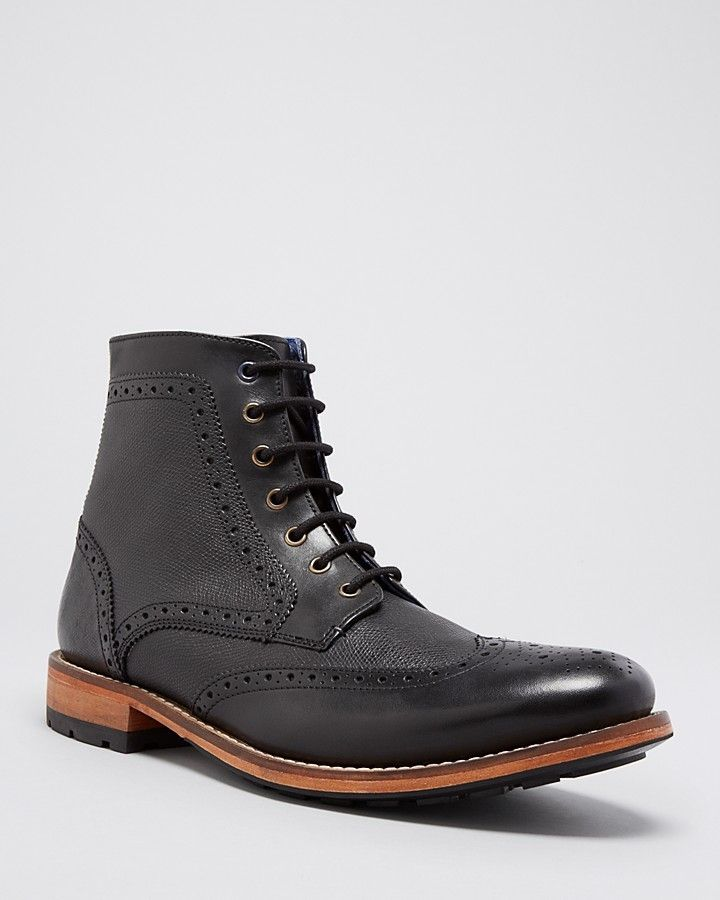 $210, Black Leather Brogue Boots: Ted Baker Sealls 2 Brogue Ankle Boots. Sold by Bloomingdale's. Click for more info: https://lookastic.com/men/shop_items/275769/redirect