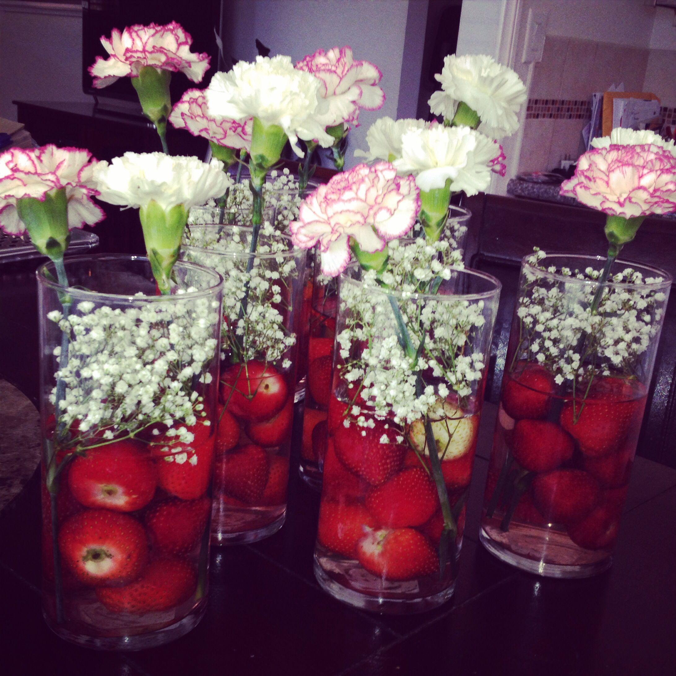 Strawberry shortcake centerpieces