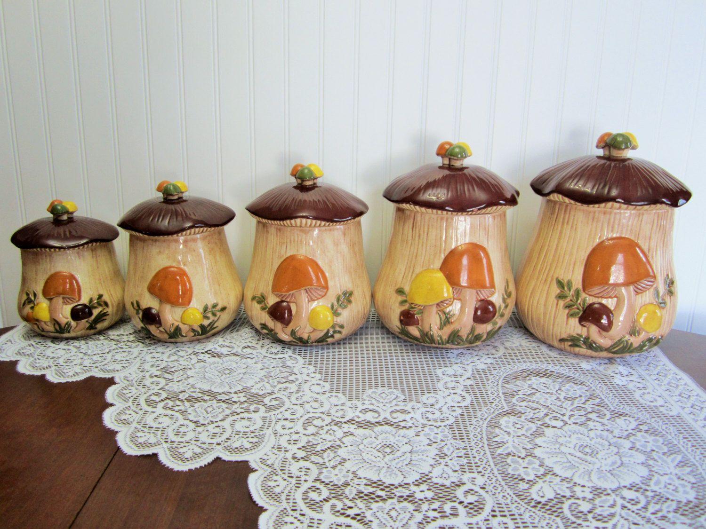 retro arnel u0027s ceramic mushroom embossed canisters 5 canister set