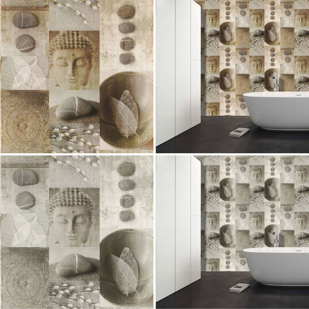 Kitchen Bathroom Buddha Tile Wallpaper Washable Vinyl Leaf Pebble Shiny  Rasch