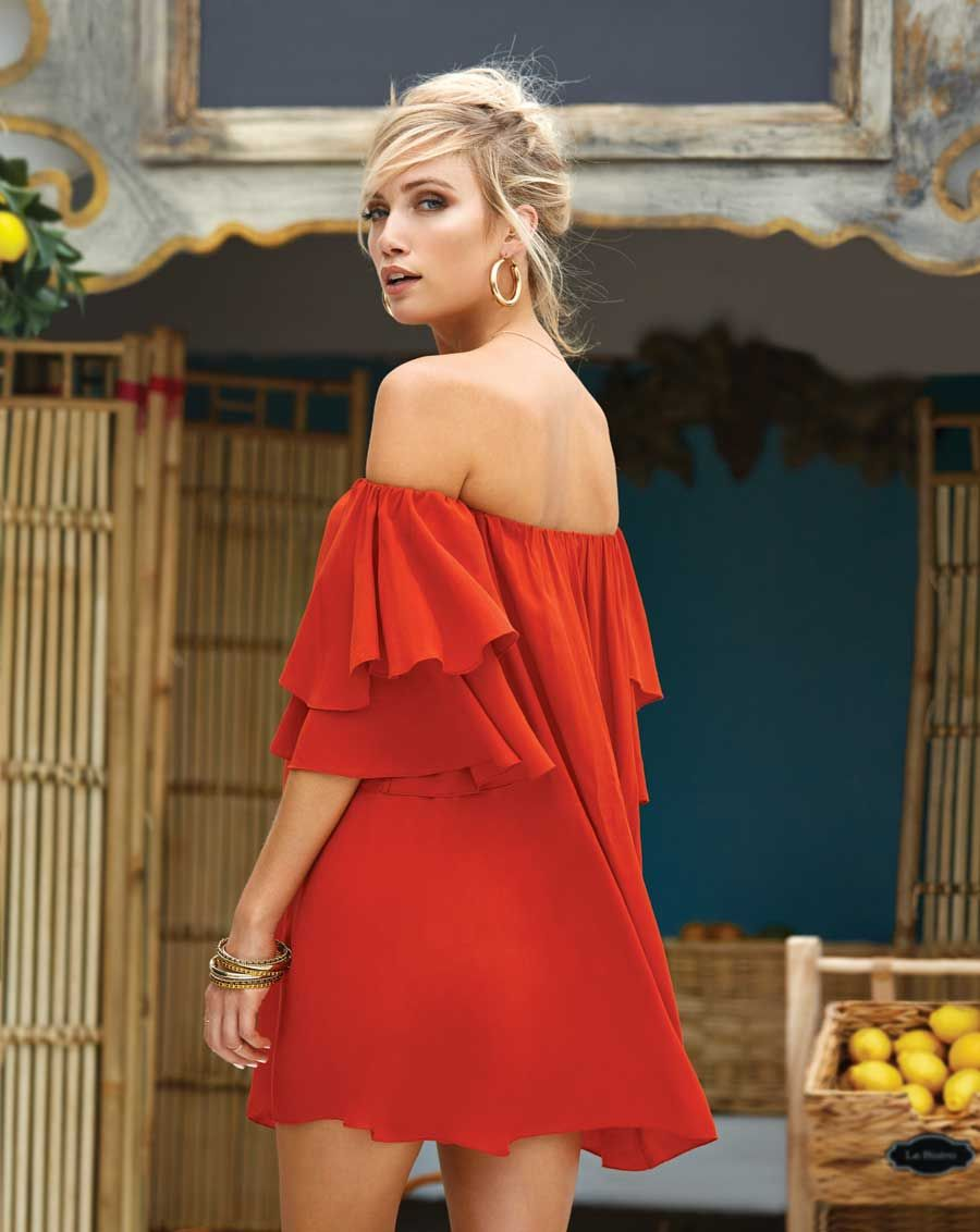 7f4de4f6b9a Elan Clothing Off the Shoulder Dress with Ruffle Sleeves in Red ...