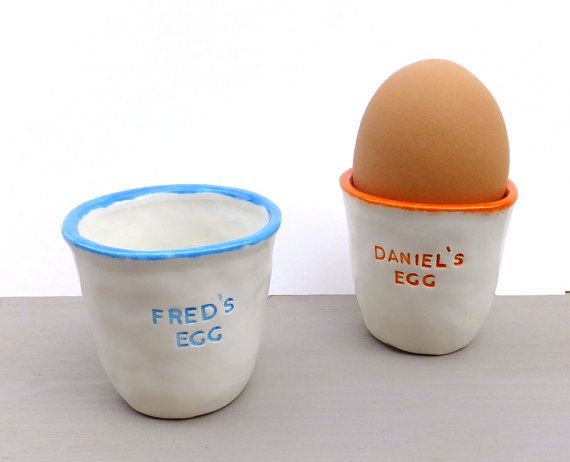 Personalised ceramic egg cup easter present by gilbertandstone personalised ceramic egg cup easter present baby gift personalised easter gift negle Image collections
