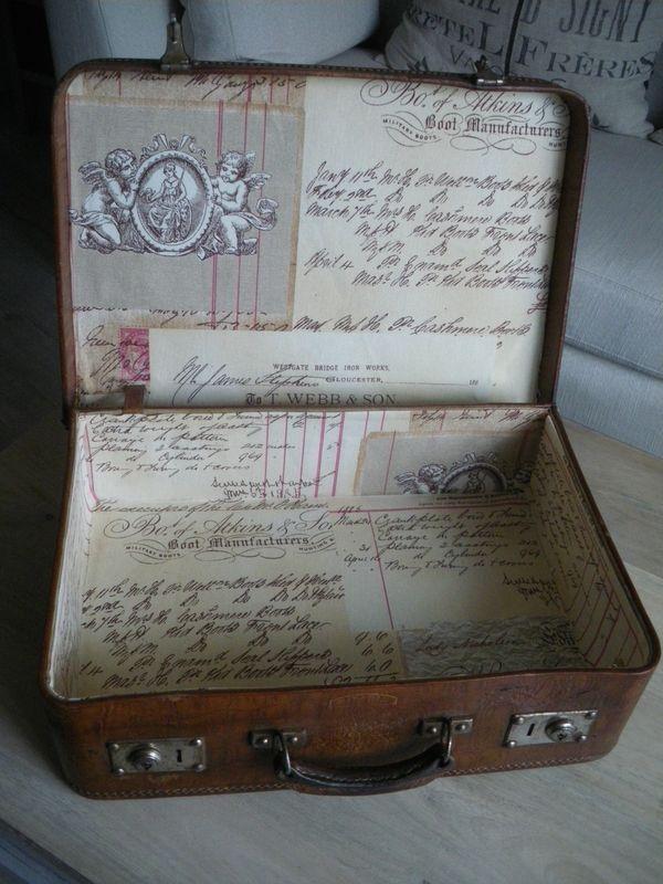 nouvel int rieur en tissu pour cette vieille valise en cuir restauration meubles objets. Black Bedroom Furniture Sets. Home Design Ideas