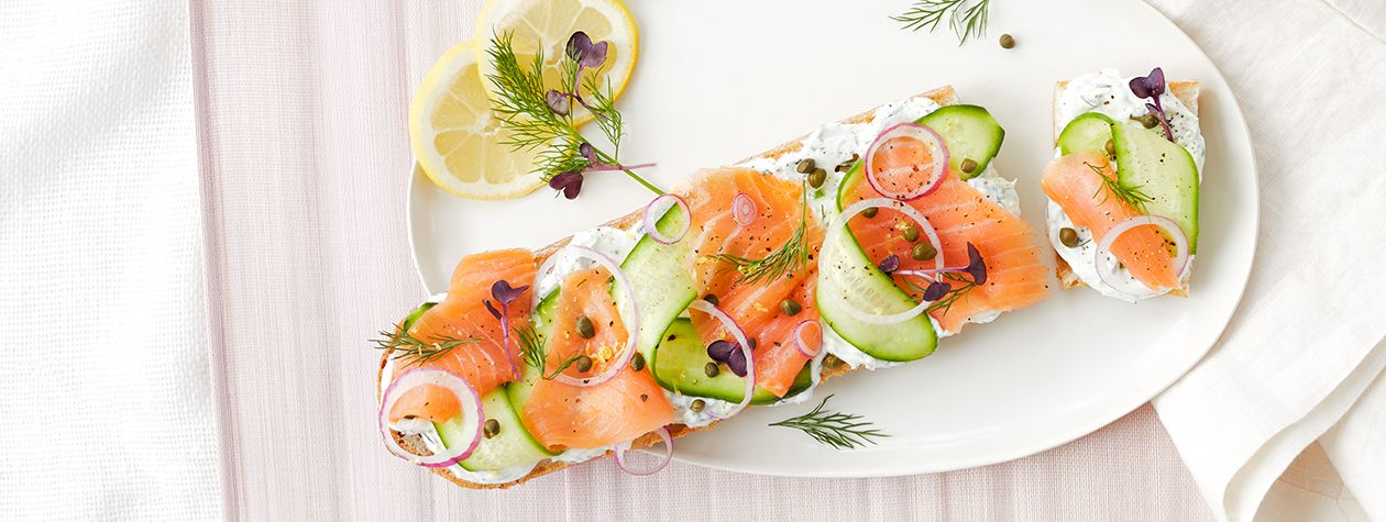 Smoked Salmon Sandwich with Lemon Dill FAGE Total Spread