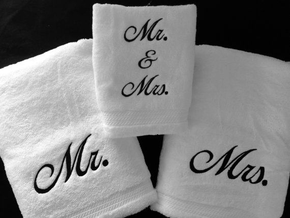 Monogrammed Towel Set Mr Mrs Towels Great Gift For Wedding