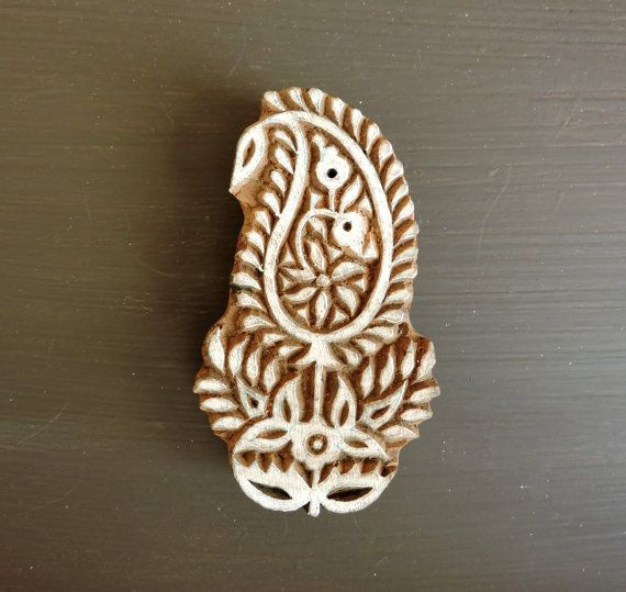 Horse Handcarved Indian Wooden Stamps Brown Printing Block Textile Stamp For Clay